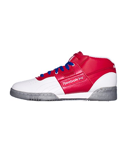 Reebok Mens Workout Mid Ice Sneaker Bianco Rosso