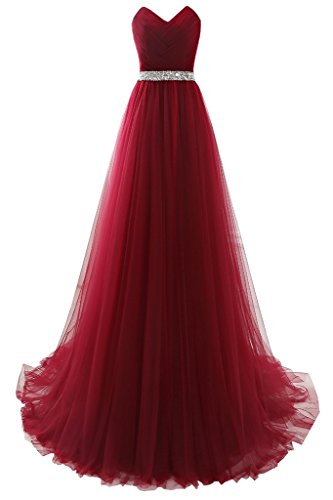 YSFS - Vestido - para mujer rojo vino