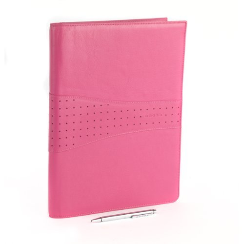 Cross Autocross Full Grain Pink Italian Pebbled Leather Padfolio with Cross Pen and Pad (Autocross Pen Pocket Cross)