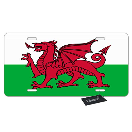 WONDERTIFY License Plate Wales Welsh Flag Dragon National Flag White Green Decorative Car Front License Plate,Vanity Tag,Metal Car Plate,Aluminum Novelty License Plate,6 X 12 Inch (4 Holes)