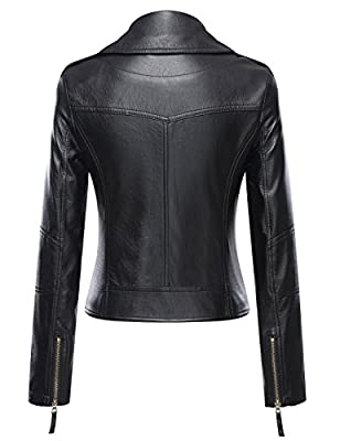 Uaneo Women's Classic Style Moto Faux Leater Jacket Outerwear