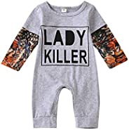 oklady Newborn Baby Boy Cotton Fake Tattoo Sleeve Romper Lady Killer/Straight Outta Time Out Bodysuit Jumpsuit