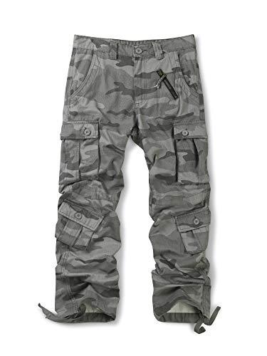 OCHENTA Men's Cotton Military Cargo Pants, 8 Pockets Casual Work Combat Trousers #3357 Z Grey 29]()