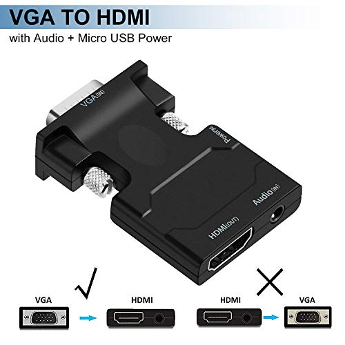 VGA to HDMI Adapter, ZAMO VGA to HDMI Video Converter Adapter Male to Female for TV, Computer, Projector with Audio and Power Cable,Portable Size-Plug and Play