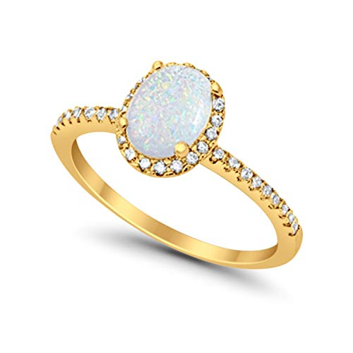 Blue Apple Co. Accent Halo Wedding Engagement Ring Oval Cut Rainbow CZ Round CZ 925 Sterling, Size-8 ()