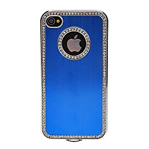 Wire Drawing Aluminum Protective Case with Diamond for iPhone 4/4S (Assorted Colors) --- COLOR:Purple