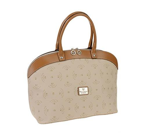 Walter Valentino-Fabriqué en Italie de Livco Shopper avec logo Print env. 43x 28x 18cm beige/cognac, w5401