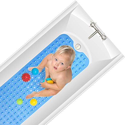 Yueetc Bathroom Mat for Tub, Extra Soft and Absorbent, Machine Washable, Perfect Bath Mats for Shower, Bathroom (Blue)