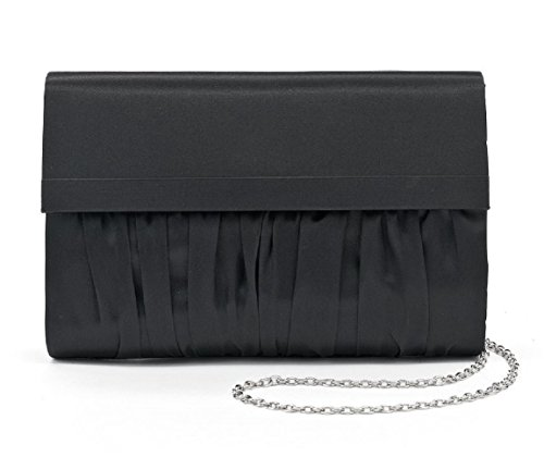 La Regale Black Ruched Satin Clutch