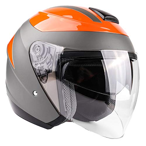 (Typhoon 3/4 Helmet With Face Shield & Retractable Sun Visor DOT Motorcycle Scooter Moped Cruiser Youth Women Adult - Orange - Medium)