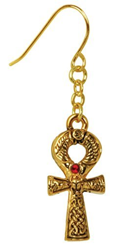 Gold Color Pewter Egyptian Ankh Earrings with Red Gem