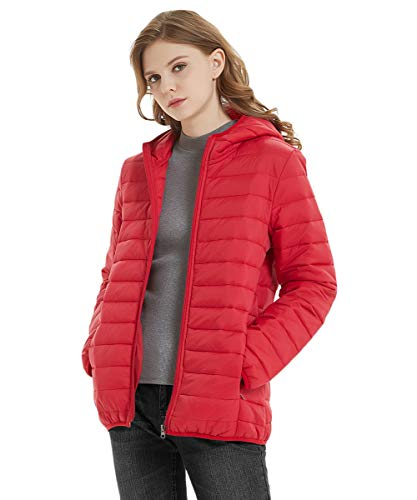 - SUNDAY ROSE Packable Puffer Jacket Women Slim Fit Lightweight Quilted Jacket Hooded Red - Size M