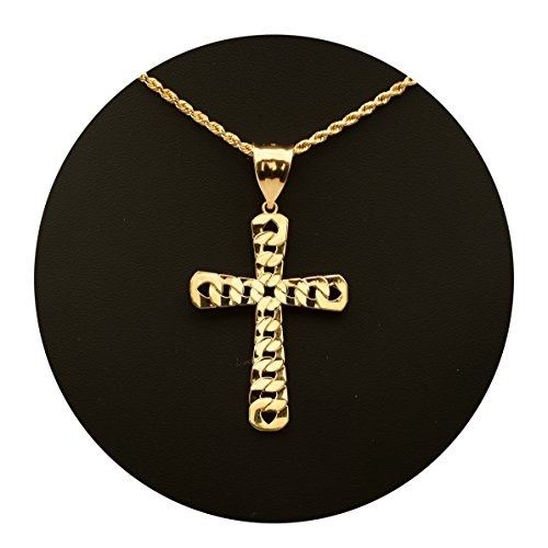 MR. BLING 10K Yellow Gold Cuban Cross Pendent Charm (2.37
