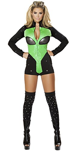 Sexy Martian Costumes (Martian Gazer Girl Halloween Costume - Black/Green - Medium)
