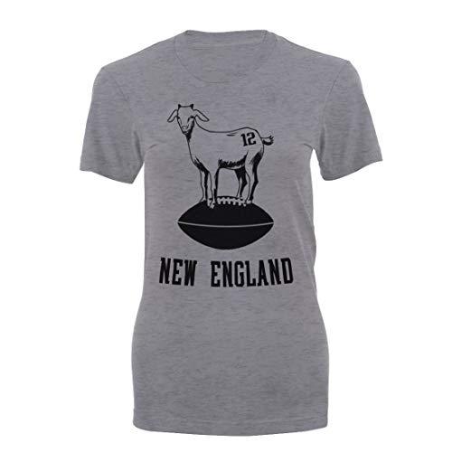 Women's Brady The G.O.A.T. Short Sleeve Patriots Football T-Shirt (Gray, Small)