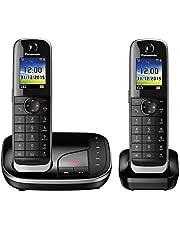 Panasonic KX-TGJ322GB familjetelefon med samtalsfråga/duo-telefon med mobildel, trådlös telefon, strålningsarm, svart