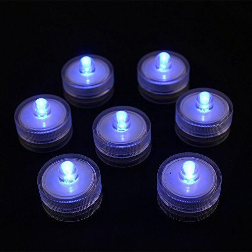 Acmee Pack of 10 Blue LED Submersible Mini Vase Light for Wedding Decoration, LED Underwater Tealight Candle for Table Centerpiece (Little Underwater Lights)