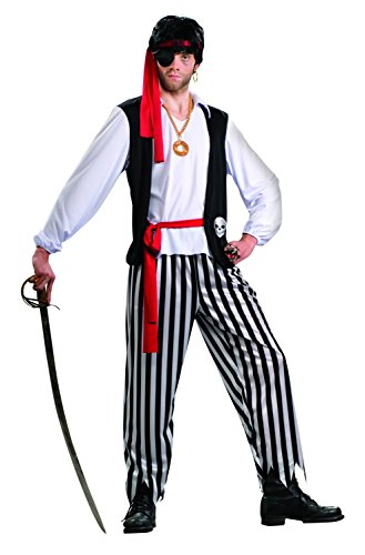 Enimay Men's Pirate Funny Creepy Dress Up Halloween Party Costume One Size (Scary Woman Halloween Costume)