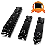 Nail Clippers Set, AW Union Fingernail & Toenail Clipper Set for Women and Men, Black Coating Stainless Carbon Steel Nail Cutter Nail Trimmer with Drawstring Bag, Straight & Curved Edge, Black