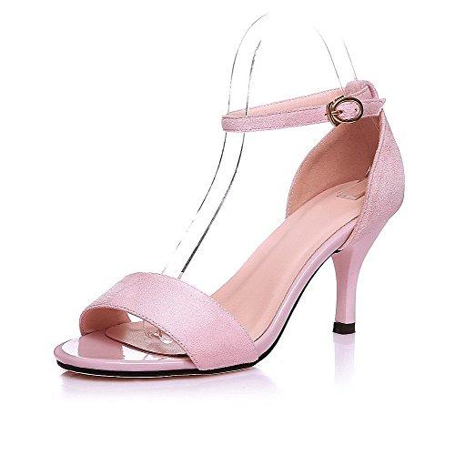 AllhqFashion Women's Solid PU Spikes Stilettos Open Toe Buckle Sandals Pink eUH17zO