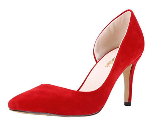 Toe CAMSSOO Red Pump Pointed Women's D'orsay Stiletto v1wzwgZAq