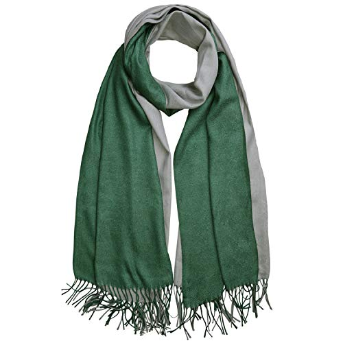 (SOJOS Two-tone Scarf Cashmere Wool Wraps Shawls Women Large Soft Scarves SC3002 with Green&Light Grey)