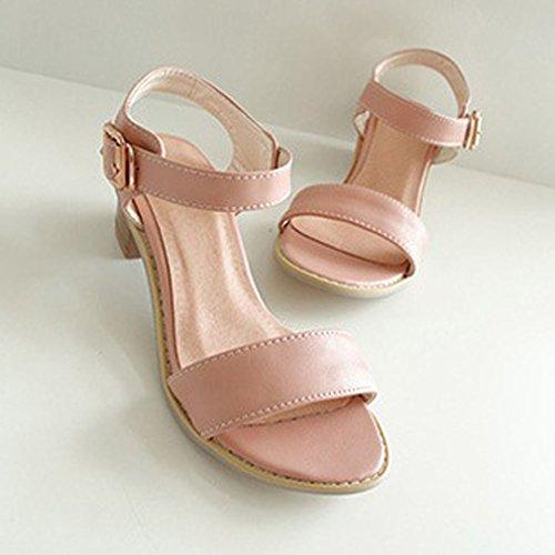Xianshu Rosa Zapatos Mujeres Bloquear Sandalias Peep Tacón Toe Tobillo Medio Tacón Correa PPrvq
