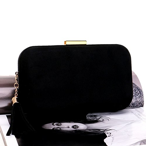 Banquet Shoulder Wedding Evening Bag Chain Purse Bridal Black Tassel Pack With Included qXtx8x