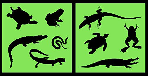 Auto Vynamics - STENCIL-REPTILESET01-10 - Detailed Lizards & Reptiles Stencil Set - Featuring Snakes, Frogs, Turtles, Gators, & More! - 10-by-10-inch Sheet - (2) Piece Kit - Pair of Sheets - Snake Pencil