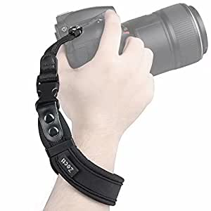 Zecti Neoprene Camera Wrist Strap with Quick Release and Safety Tether, Adjustable Camera Hand Strap for Camera DSLR Camcorder Binocular