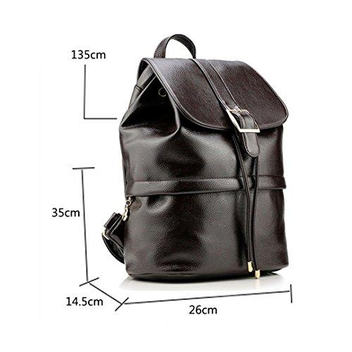 Wewod Mochilas Escolares Mujer Bolso Cuero Bolsos Mochila de Viaje bolsos de Piel para Colegio Vintage PU Casual Bag 26* 35 *14.5 cm (Largo * Alto * Grueso) Marrón