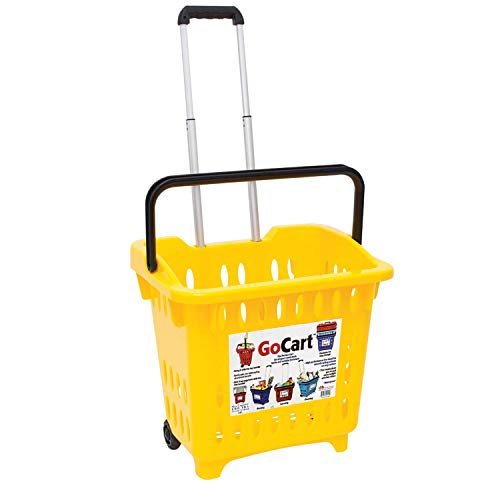 GoCart Rolling Shopping Basket - Cart Laundry with Collapsible Handle - Yellow