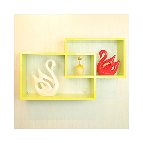 Wall Mounted Floating Shelves, WUDENHOM Home Decor Furniture Bright Lemon Green Cube Intersecting Shelf(19.5,15.6Inch)