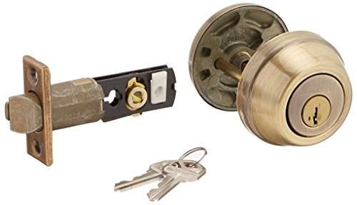 Kwikset 598-5S Deadbolts - Single Cylinder Smart Key Antique Brass - Antique Key Smart Brass