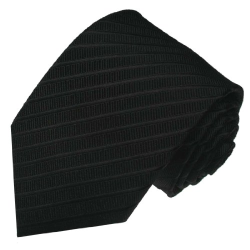 LORENZO CANA - Luxury Italian 100% Silk Neck Tie Woven Black Striped - 84106