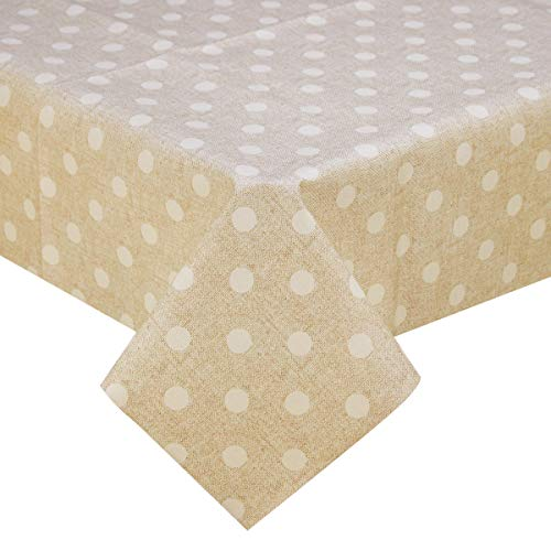 LOHASCASA Vinyl Oilcloth Tablecloth for Rectangle Tables Wipeable Oil-Proof Waterproof PVC Tablecloth Beige and White Polka Dot 54 x 84 -