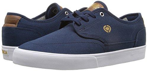 C1RCA Men's Essential Skateboarding Shoe, Navy/Gold, 9 M US