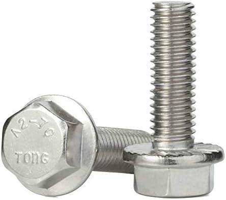 25 PCS Stainless Steel A2-70 DIN 6921 M6-1.0 x 16mm Flanged Hex Head Bolts Flange Hexagon Screws