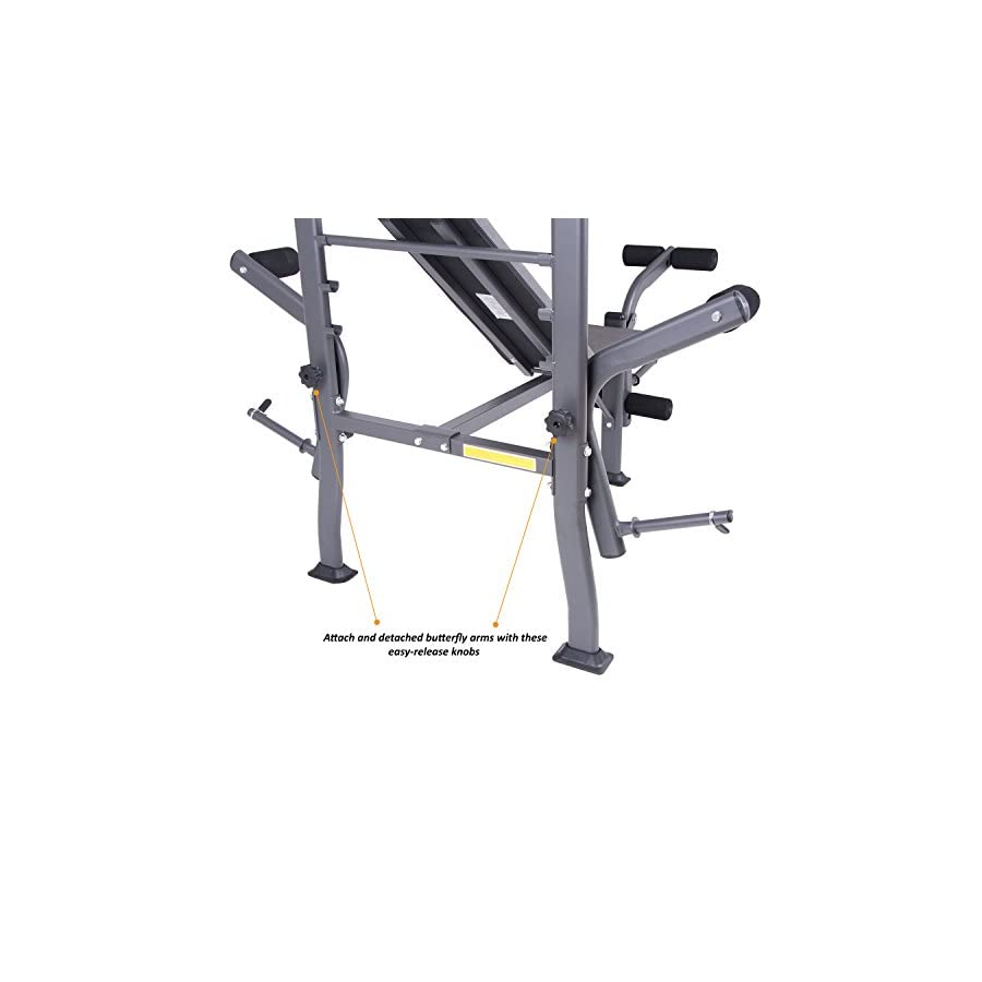 Body Champ BCB500 Fitness PROMO! Standard Weight Bench with Butterfly and Leg Lift Curl Developer Extension Attachment/Space Saving, Dark Gray/Black