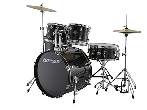 New Ludwig LC170 Accent Fusion Complete 5 Piece Drum Set Kit with Hardware & Cymbals (Black)