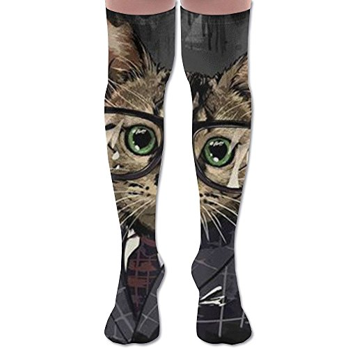 Cat Man Woman Knee High Compression Socks Stylish High Travelers Laides Long Socks White 1i1Rpcl