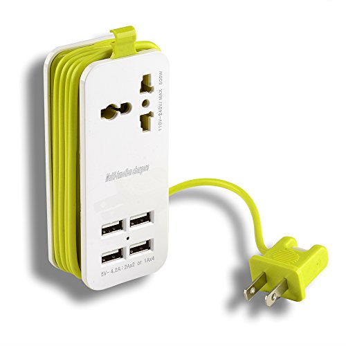 AGPtek 5V 21W 1Ax4 USB Ports 110V-220V Input Portable Power Strip Travel Outlets with 5-feet Power Supply Cord (US ()
