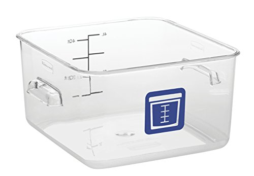 Rubbermaid Commercial Products 1980233 Square Plastic Food Storage Container, Blue Label, 4 quart, Clear