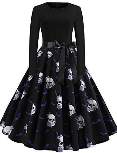 Easy Scary Plus Size Costumes - GreaSmart Halloween Dress, A-long Sleeve Skull