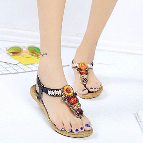 Sandalias de vestir, Ouneed ® Ojotas de mujer Bohemia estilo Retro sandalias Peep-toe ocio baja Negro
