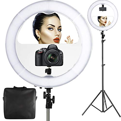 "18"" LED Video Ring Light with Mirror, 6ft Stand Tripod, Adjustable Heavy Duty Mount for DSLR, iPhone & Android Smartphones - Professional Studio Photography Dimmable Lighting Kit for Makeup & YouTube from Photo Doctor"