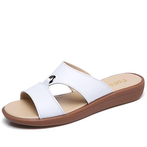 Pantofole Casual Da Donna In Pelle Da Spiaggia Estiva In Pelle 223 Albicocca