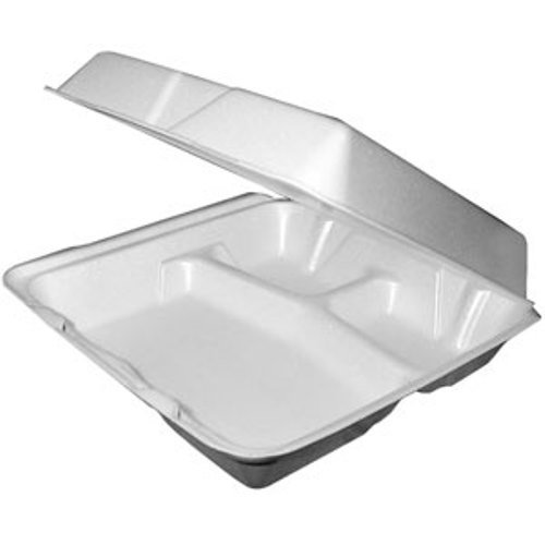 Dart 95HTPF3, 9x9x3-Inch Performer White Three Compartment Foam Container With A Removable Hinged Lid, Carryout Food Disposable Containers ()