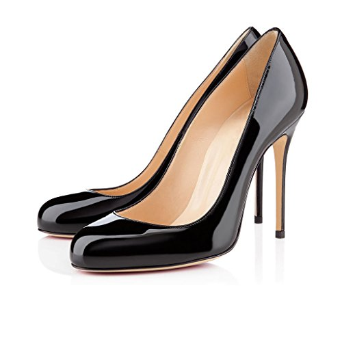 Heels Black Zehen High Absatz für Stiletto EDEFS Hoch Schuhe Geschlossene Runde Damen Pumps Damen Party qFcE6z