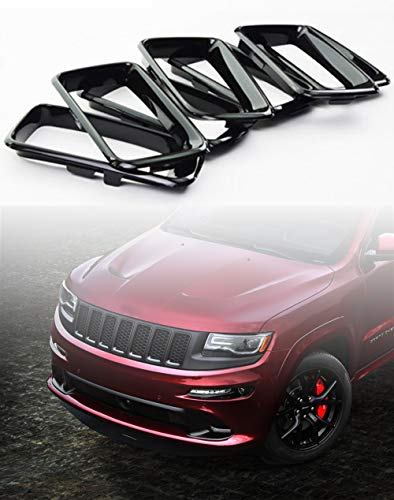 YAV Glossy Black Front Clip-in Grille Grill Rings Inserts for 2014 2015 2016 Jeep Grand Cherokee Accessories Flames Kit Trim Cover 7pcs